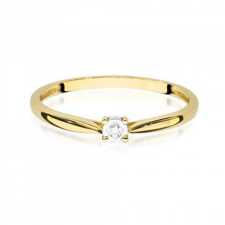 Biżuteria SAXO 14K Pierścionek z brylantem 0,01ct W-461 Złoty