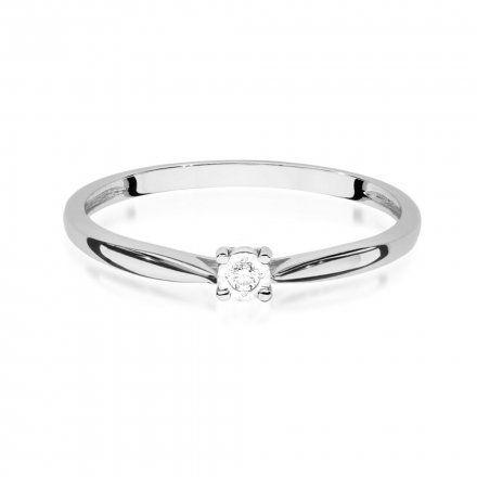 Biżuteria SAXO 14K Pierścionek z brylantem 0,01ct W-461 Białe Złoto