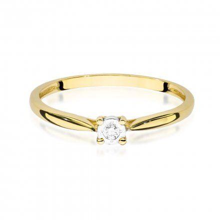 Biżuteria SAXO 14K Pierścionek z brylantem 0,03ct W-461 Złoty