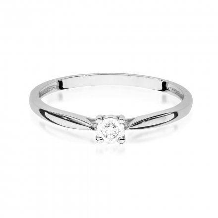 Biżuteria SAXO 14K Pierścionek z brylantem 0,03ct W-461 Białe Złoto