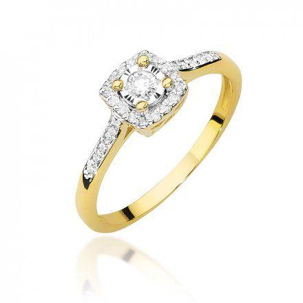 Biżuteria SAXO 14K Pierścionek z brylantami 0,21ct W-462 Złoty