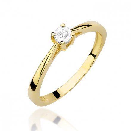 Biżuteria SAXO 14K Pierścionek z brylantem 0,03ct W-462 Złoty