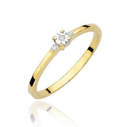 Biżuteria SAXO 14K Pierścionek z brylantem 0,02ct W-464 Złoty