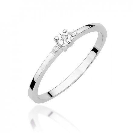 Biżuteria SAXO 14K Pierścionek z brylantem 0,02ct W-464 Białe Złoto