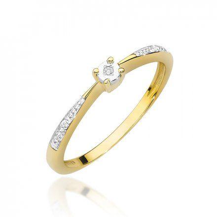 Biżuteria SAXO 14K Pierścionek z brylantem 0,02ct W-465 Złoty
