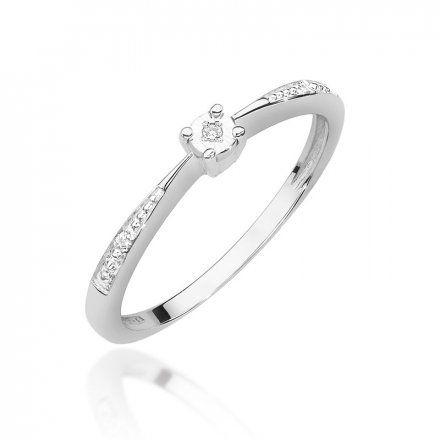 Biżuteria SAXO 14K Pierścionek z brylantem 0,02ct W-465 Białe Złoto