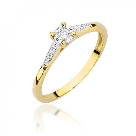 Biżuteria SAXO 14K Pierścionek z brylantem 0,11ct W-466 Złoty