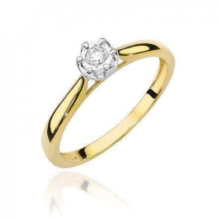 Biżuteria SAXO 14K Pierścionek z brylantem 0,08ct W-468 Złoty