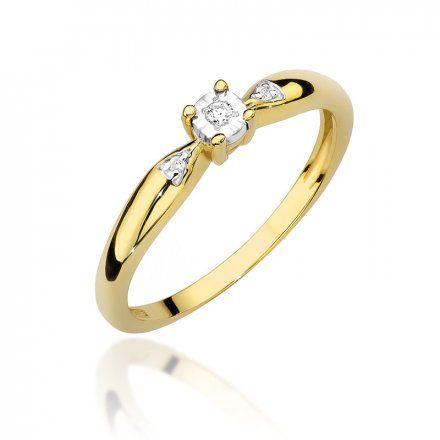 Biżuteria SAXO 14K Pierścionek z brylantem 0,03ct W-469 Złoty