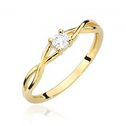 Biżuteria SAXO 14K Pierścionek z brylantem 0,03ct W-470 Złoty