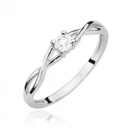 Biżuteria SAXO 14K Pierścionek z brylantem 0,03ct W-470 Białe Złoto