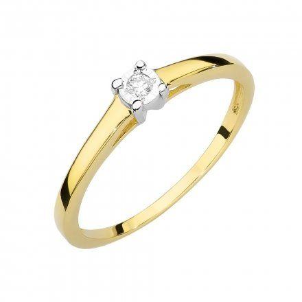 Biżuteria SAXO 14K Pierścionek z brylantem 0,03ct W-471 Złoty