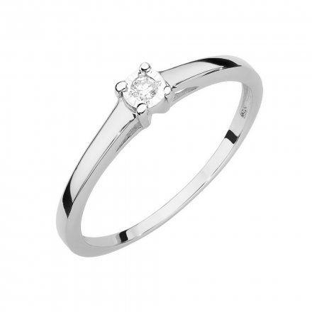 Biżuteria SAXO 14K Pierścionek z brylantem 0,03ct W-471 Białe Złoto