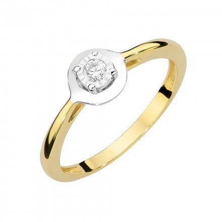 Biżuteria SAXO 14K Pierścionek z brylantem 0,08ct W-472 Złoty