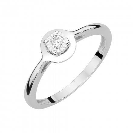 Biżuteria SAXO 14K Pierścionek z brylantem 0,08ct W-472 Białe Złoto