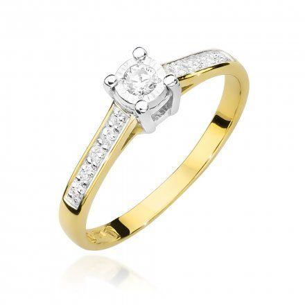 Biżuteria SAXO 14K Pierścionek z brylantem 0,13ct W-474 Złoty