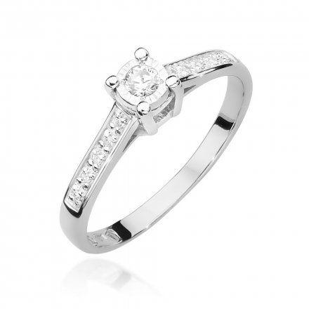 Biżuteria SAXO 14K Pierścionek z brylantem 0,13ct W-474 Białe Złoto