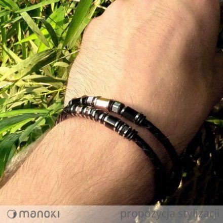 Biżuteria Manoki Skórzana bransoletka męska BA504B
