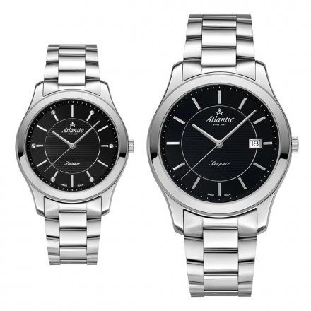 Atlantic Seapair zegarki szwajcarskie dla par Srebrno-Czarne
