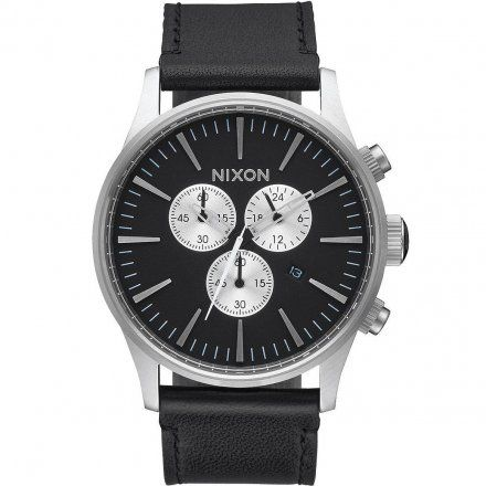 Zegarek Nixon Sentry Chrono Leather Black - Nixon A4051000