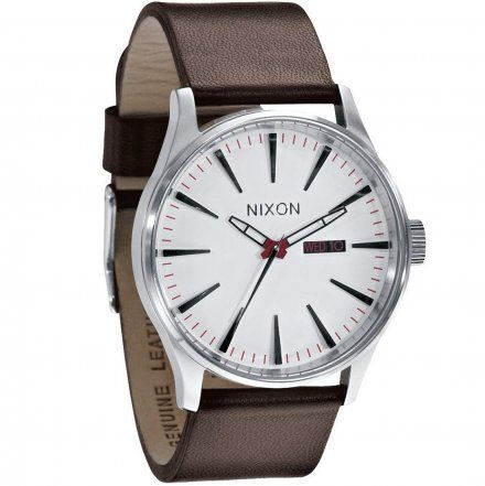 Zegarek Nixon Sentry Leather Silver White - Nixon A1051100