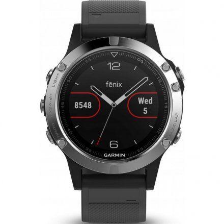 Zegarek Garmin Fenix 5 010-01688-03 Srebrny z czarnym paskiem