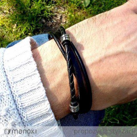 Biżuteria Manoki Skórzana bransoletka męska BA438B