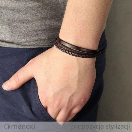Biżuteria Manoki Skórzana bransoletka męska BA439A
