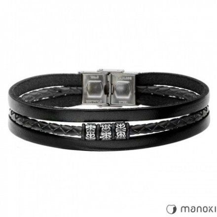 Biżuteria Manoki Skórzana bransoletka męska BA655B