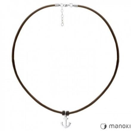 Biżuteria Manoki Skórzany naszyjnik męski WA314A