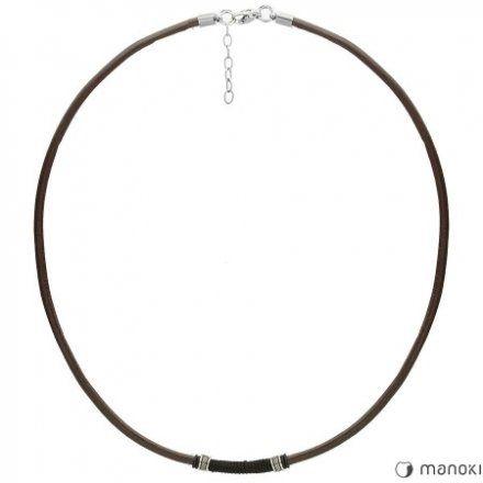 Biżuteria Manoki Skórzany naszyjnik męski WA426A