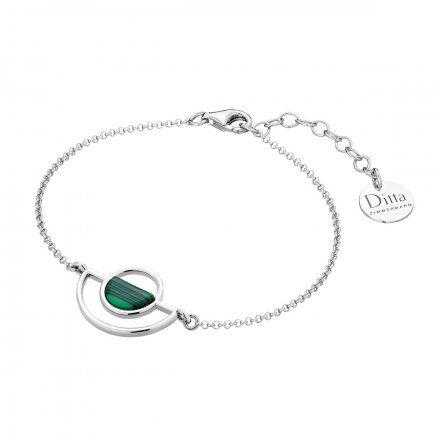 Bransoletka srebrna z malachit Biżuteria Ditta Zimmermann DZB4193/MAL/R