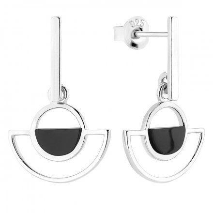 Kolczyki srebrne z onyksem Biżuteria Ditta Zimmermann DZK4192/ONX/R