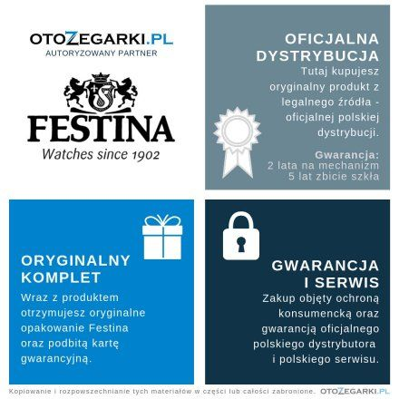 Zegarek Damski Festina 20011/2 SWISS MADE F20011 2