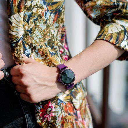 Smartwatch Garett Women Lisa fioletowy skórzany