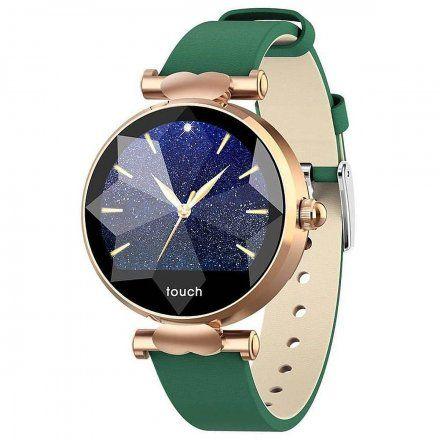 Smartwatch Garett Women Lisa zielono-złoty skórzany