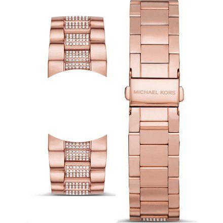 Bransoletka różowozłota z kryształkami do zegarka Michael Kors Access Bradshaw 2.0 MKT5089 22 mm