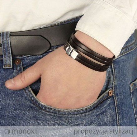 Biżuteria Manoki Skórzana bransoletka męska BA337K