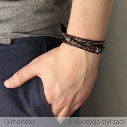 Biżuteria Manoki Skórzana bransoletka męska BA438A