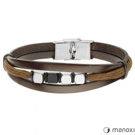 Biżuteria Manoki Skórzana bransoletka męska BA734A