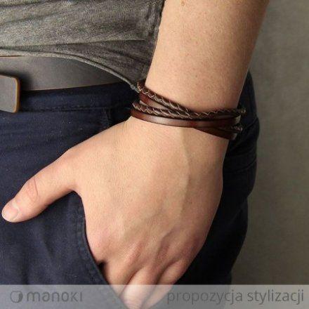 Biżuteria Manoki Skórzana bransoletka męska BA338A