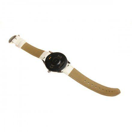 Srebrny smartwatch damski z białym paskiem Rubicon RNAE36SIBW05AX