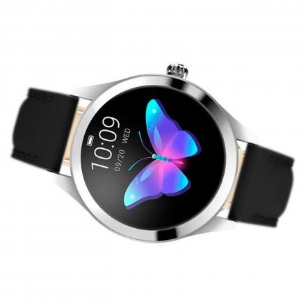 Srebrny smartwatch damski Rubicon z czarnym paskiem RNAE36SIBX05AX