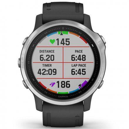 Zegarek Garmin Fenix 6S Srebrny z czarnym paskiem 010-02159-01