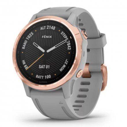 Zegarek Garmin Fenix 6S PRO Sapphire Różowozłoty z szarym paskiem 010-02159-21