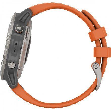 Zegarek Garmin Fenix 6 PRO Sapphire Tytan z pomarańczowym paskiem 010-02158-14