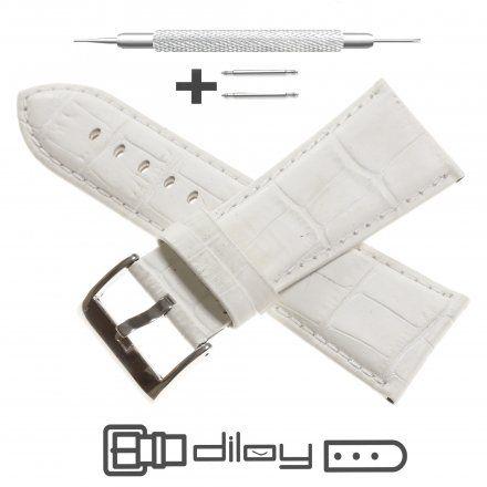 Pasek DILOY Superior 368EA.30.22 Skórzany Biały 30 mm - GRATIS dwa teleskopy i narzędzie