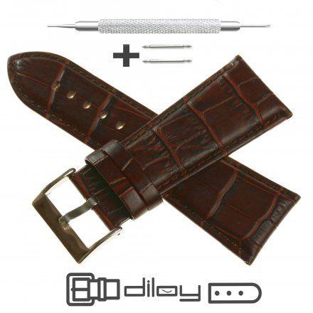 Pasek DILOY Superior 368EA.28.02 Skórzany Brązowy 28 mm - GRATIS dwa teleskopy i narzędzie