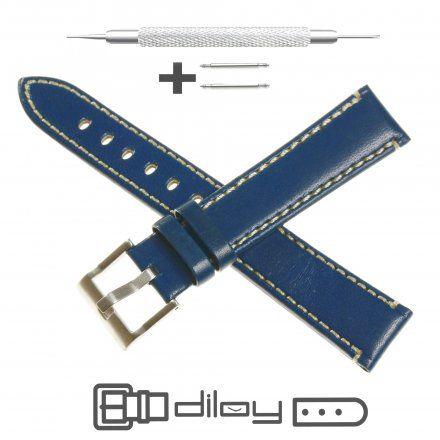 Pasek DILOY Fashion 373.14.05 Skórzany Granatowy 14 mm - GRATIS dwa teleskopy i narzędzie