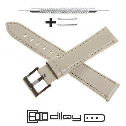 Pasek DILOY Fashion 373.14.07 Skórzany Szary 14 mm - GRATIS dwa teleskopy i narzędzie